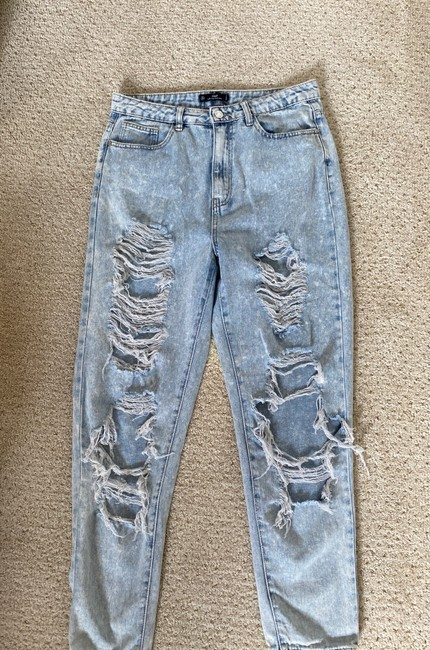 Missguided Blue Distressed Riot Straight Leg Jeans Size 8 (M, 29, 30) Missguided Blue Distressed Riot Straight Leg Jeans Size 8 (M, 29, 30) Image 2