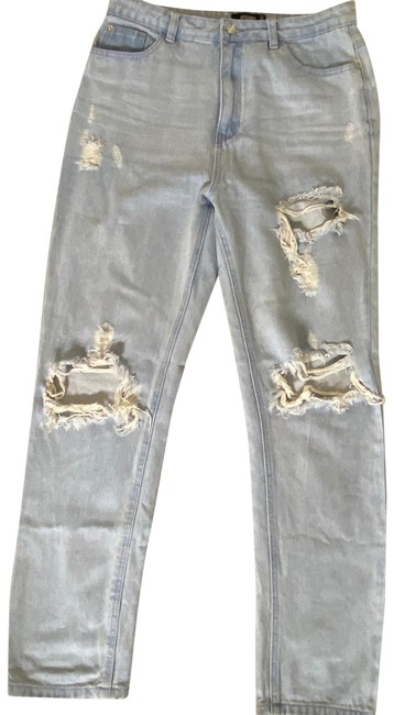 Missguided Blue Distressed Straight Leg Jeans Size 8 (M, 29, 30) Missguided Blue Distressed Straight Leg Jeans Size 8 (M, 29, 30) Image 1