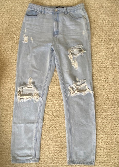 Missguided Blue Distressed Straight Leg Jeans Size 8 (M, 29, 30) Missguided Blue Distressed Straight Leg Jeans Size 8 (M, 29, 30) Image 2