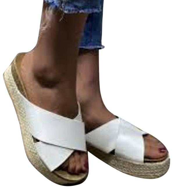 Item - White Crisscross Espadrille Mule Wedges 41(9.5) Sandals Size EU 41 (Approx. US 11) Regular (M, B)