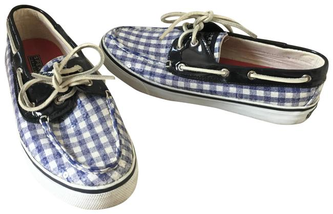 Item - Blue and White Top Sider Bahama Gingham Sequin Loafers Flats Size US 6.5 Regular (M, B)