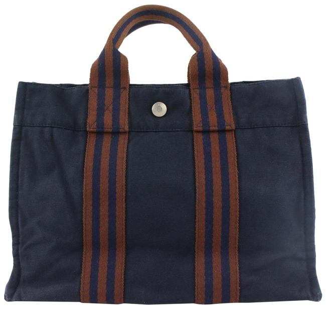 Item - Fourre Tout Bag Stripe 98her428 Navy Canvas Tote