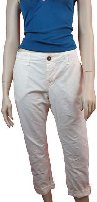 Item - White Light Wash Inez Slim Fit Low Rise Creamy Cotton Chino Pants Capri/Cropped Jeans Size 24 (0, XS)