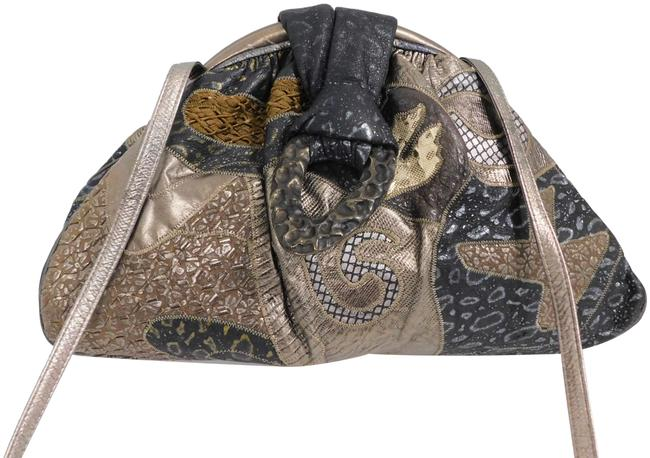 Item - Clutch Vintage Pewter Metallic Large Usa Multicolor Leather Cross Body Bag