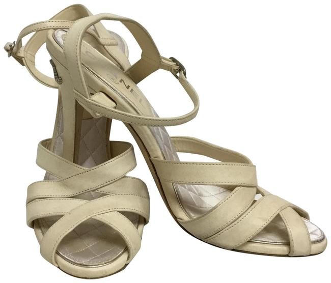 Item - Cream Lambskin with Silver and Crystal Cc Logo Sandals Size EU 38 (Approx. US 8) Regular (M, B)