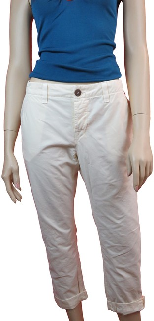 Item - White Light Wash Inez Slim Fit Low Rise Creamy Cotton Chino Pants Capri/Cropped Jeans Size 28 (4, S)