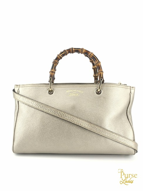 Item - Bag Metallic Way Bamboo Shopper #34656 Gold Leather Tote