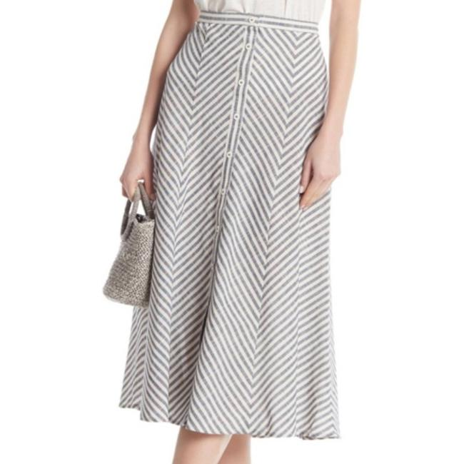 Item - Gray Striped Button Front Large Skirt Size 12 (L, 32, 33)