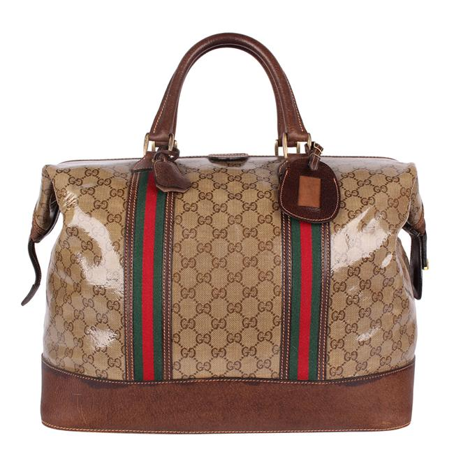 Gucci Top Handle Tote Monogram Gg Carry On 9666 Brown Leather & Coated Canvas Weekend/Travel Bag Gucci Top Handle Tote Monogram Gg Carry On 9666 Brown Leather & Coated Canvas Weekend/Travel Bag Image 1