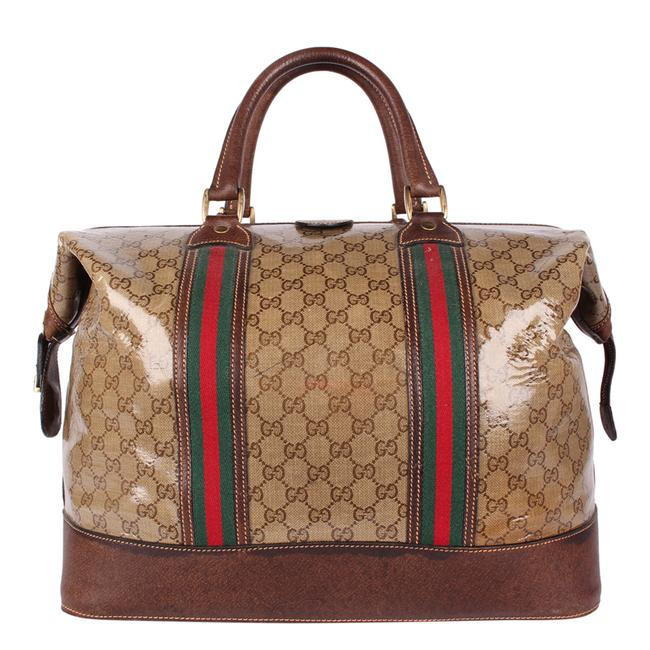Gucci Top Handle Tote Monogram Gg Carry On 9666 Brown Leather & Coated Canvas Weekend/Travel Bag Gucci Top Handle Tote Monogram Gg Carry On 9666 Brown Leather & Coated Canvas Weekend/Travel Bag Image 2
