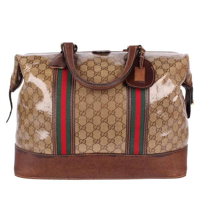 Gucci Top Handle Tote Monogram Gg Carry On 9666 Brown Leather & Coated Canvas Weekend/Travel Bag Gucci Top Handle Tote Monogram Gg Carry On 9666 Brown Leather & Coated Canvas Weekend/Travel Bag Image 3