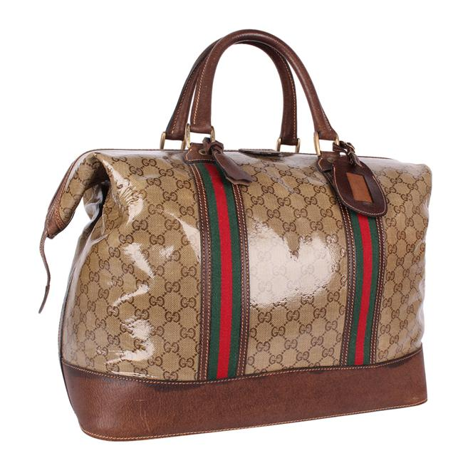 Gucci Top Handle Tote Monogram Gg Carry On 9666 Brown Leather & Coated Canvas Weekend/Travel Bag Gucci Top Handle Tote Monogram Gg Carry On 9666 Brown Leather & Coated Canvas Weekend/Travel Bag Image 4