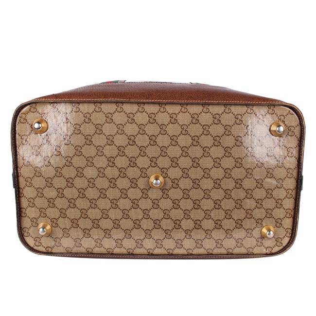 Gucci Top Handle Tote Monogram Gg Carry On 9666 Brown Leather & Coated Canvas Weekend/Travel Bag Gucci Top Handle Tote Monogram Gg Carry On 9666 Brown Leather & Coated Canvas Weekend/Travel Bag Image 5