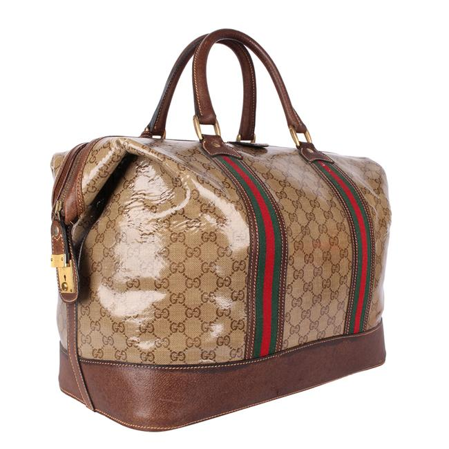 Gucci Top Handle Tote Monogram Gg Carry On 9666 Brown Leather & Coated Canvas Weekend/Travel Bag Gucci Top Handle Tote Monogram Gg Carry On 9666 Brown Leather & Coated Canvas Weekend/Travel Bag Image 6