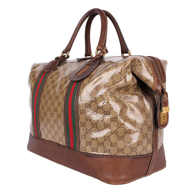 Gucci Top Handle Tote Monogram Gg Carry On 9666 Brown Leather & Coated Canvas Weekend/Travel Bag Gucci Top Handle Tote Monogram Gg Carry On 9666 Brown Leather & Coated Canvas Weekend/Travel Bag Image 7