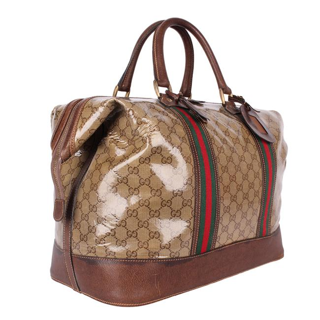 Gucci Top Handle Tote Monogram Gg Carry On 9666 Brown Leather & Coated Canvas Weekend/Travel Bag Gucci Top Handle Tote Monogram Gg Carry On 9666 Brown Leather & Coated Canvas Weekend/Travel Bag Image 8
