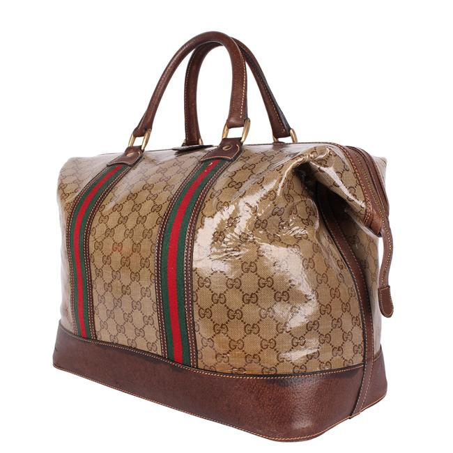 Gucci Top Handle Tote Monogram Gg Carry On 9666 Brown Leather & Coated Canvas Weekend/Travel Bag Gucci Top Handle Tote Monogram Gg Carry On 9666 Brown Leather & Coated Canvas Weekend/Travel Bag Image 9