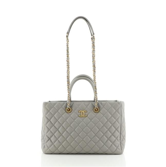 Item - Shopping Coco Handle Quilted Caviar Medium Gray Leather Tote