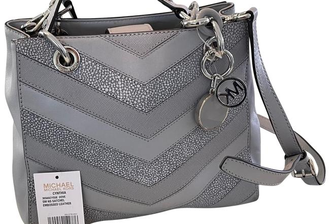 Item - Cynthia Embossed Handle Lo Gray Leather Satchel