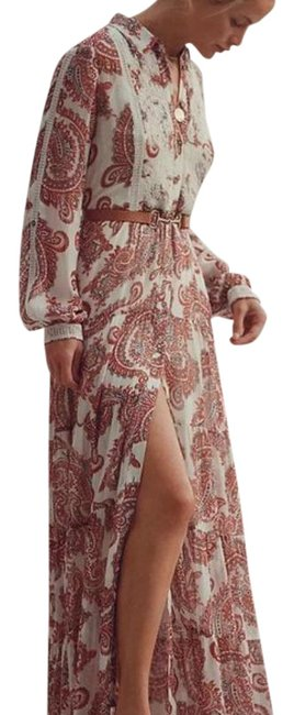 Item - Cream Red Allaire Shirtdress In Neutral Motif Long Casual Maxi Dress Size 22 (Plus 2x)