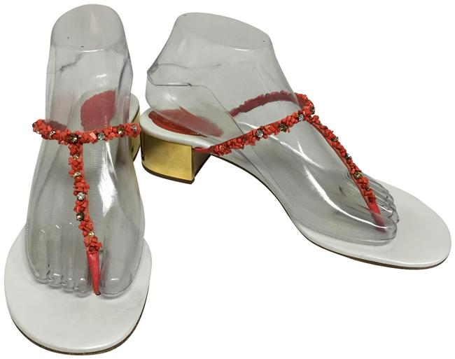 Item - Coral Tong Flat with Gold Heel Sandals Size EU 38.5 (Approx. US 8.5) Regular (M, B)