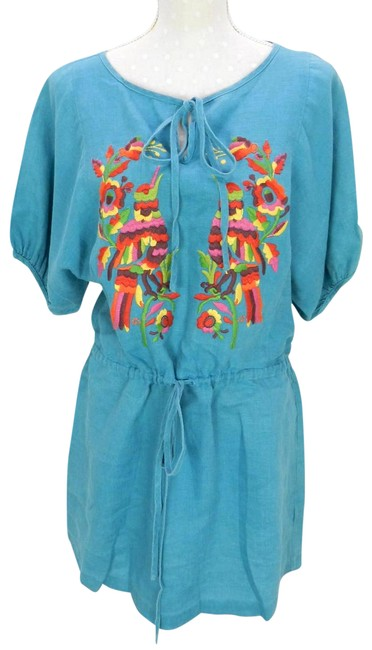 Item - Blue S Embroidered Linen Peasant Womens Euc Short Casual Maxi Dress Size 6 (S)