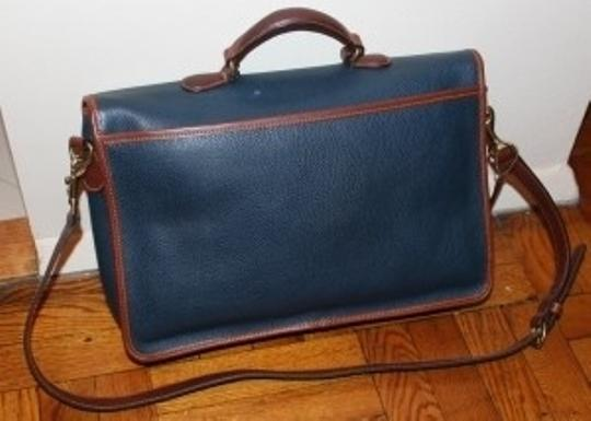 Coach Tote in Blue with brown trim