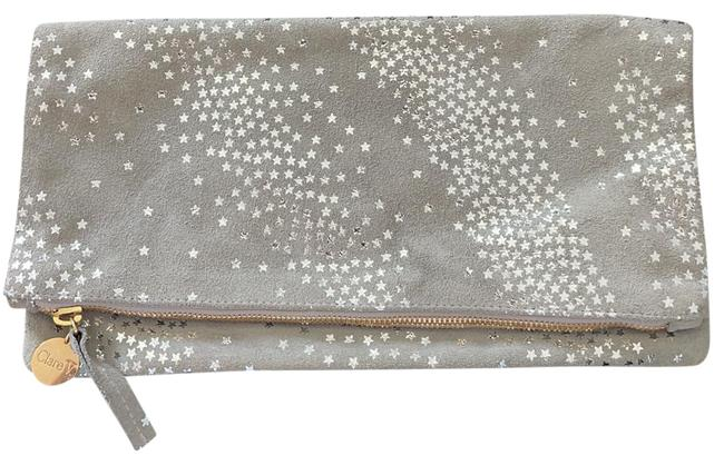 Item - Fold Over Grey with Silver Stars Leather Clutch