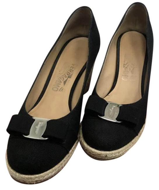 Item - Black Darly Canvas Espadrille with Vera Bow. Wedges Size US 9 Narrow (Aa, N)