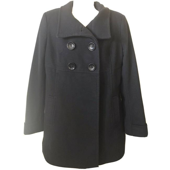 Item - Black Double Breasted Button Up Wool Jacket Coat Size 8 (M)
