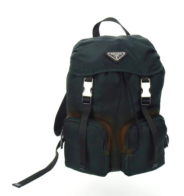 Item - Double Front Pocket Dark Green Tessuto Nylon and Leather Backpack