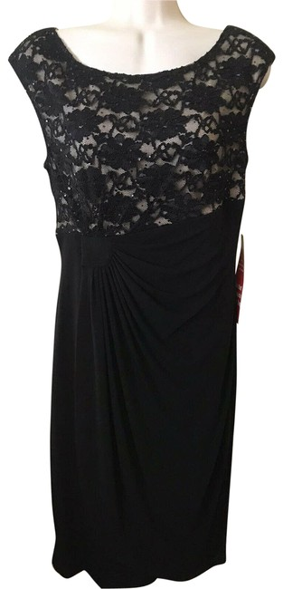 Item - Black Nude Lace Overlay Sequin Cap Sleeve Ruched Cocktail Dress Size 8 (M)