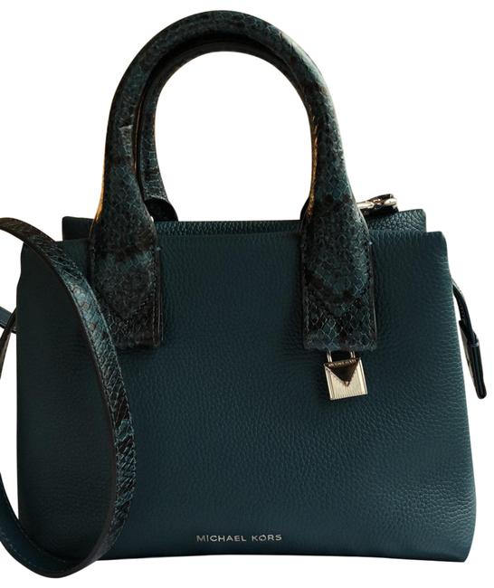 Item - Rollins Sm Satchel In Luxe Teal with Snake-like Pattern On The Handles Shoulder Bag