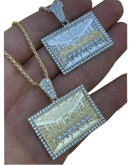 Item - Silver & Gold 925 Iced Men's Jesus Last Supper Pendant Italy Necklace