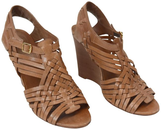 Item - Tan Woven Leather Wedges Sandals Size US 9.5 Regular (M, B)