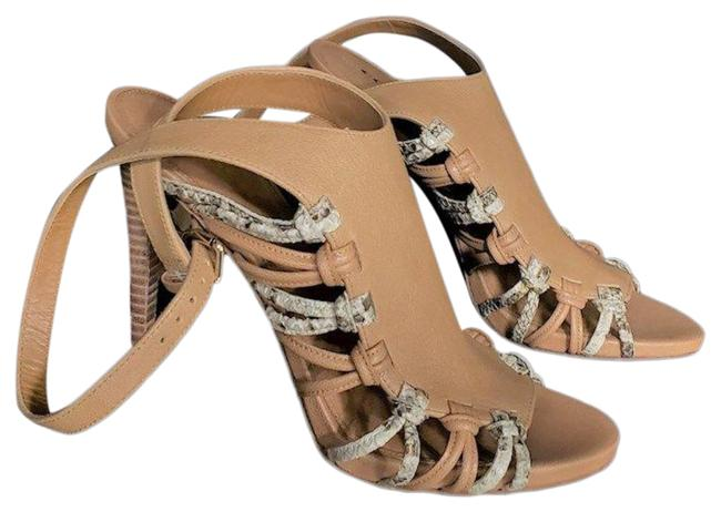 Item - Tan and White Criss-cross Stappy with Wrap-around Ankle Strap Python Accents Sandals Size US 7 Regular (M, B)
