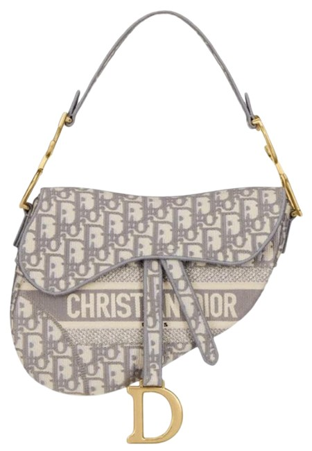 Item - Saddle Oblique Embroidery with A Strap Gray Cross Body Bag
