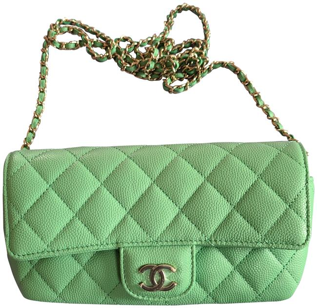 Item - Glasses Case With Chain Green Leather Cross Body Bag
