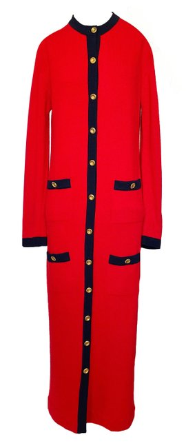Item - Red Full Length Cashmere with Dark Navy Detail 48 / Long Casual Maxi Dress Size 14 (L)