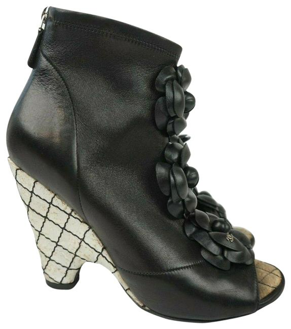 Item - Black Leather Floral Applique Cc Peep Wedge Boots/Booties Size EU 38.5 (Approx. US 8.5) Regular (M, B)