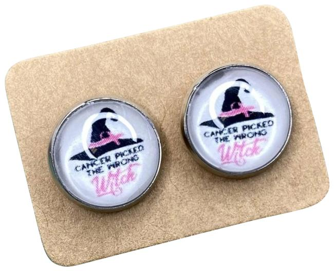 Item - Pink Cancer Picked The Wrong Witch Stud Earrings