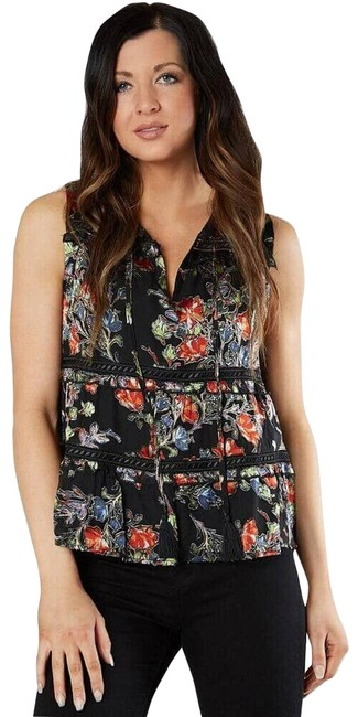 Item - Black Buckle Floral Satin Sleeveless Front Tie Mmt0567t Blouse Size 6 (S)