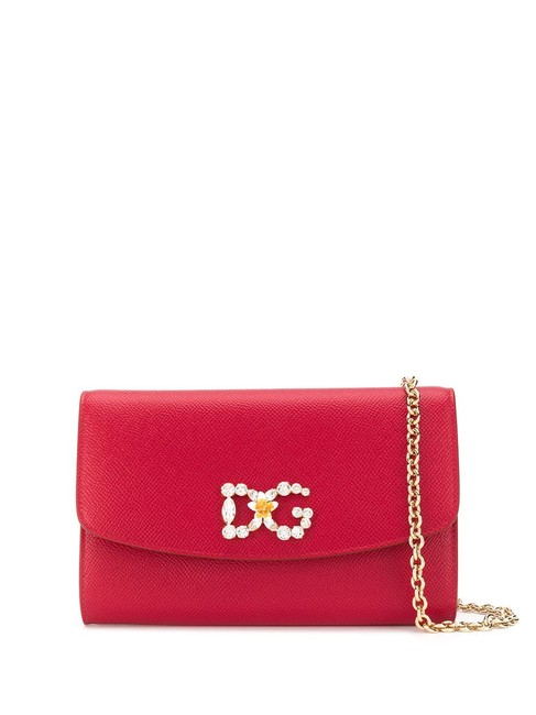 Item - Mini Crystal-embellished Logo Plaque Red Leather Shoulder Bag
