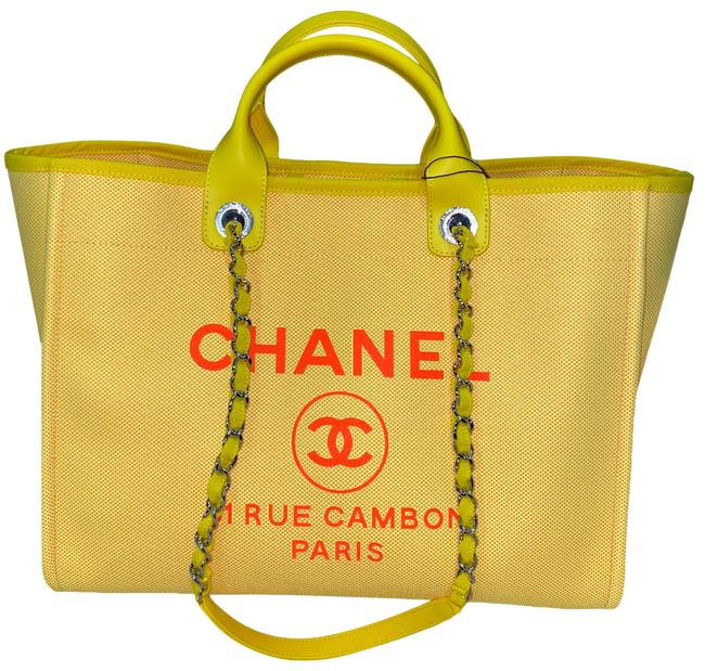 Item - Deauville Tote 21s Orange Large Shopping 30cm 2 Way Silver Chain Yellow Canvas Shoulder Bag