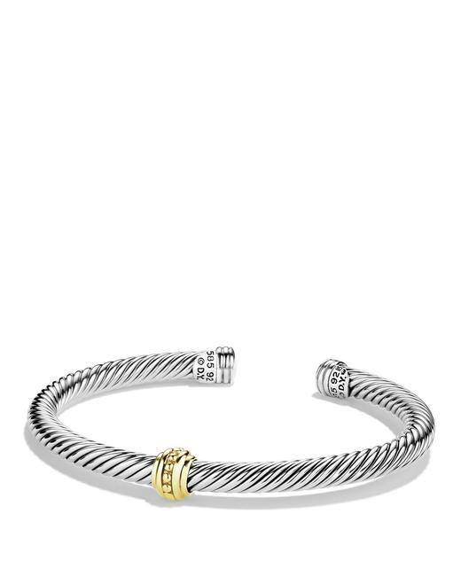 Item - Silver Sterling 14k Gold One Station Cable Classic Cuff Bracelet