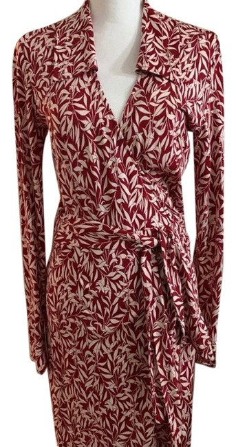 Item - Red/White Dvf Classic Wrap Mid-length Work/Office Dress Size 8 (M)