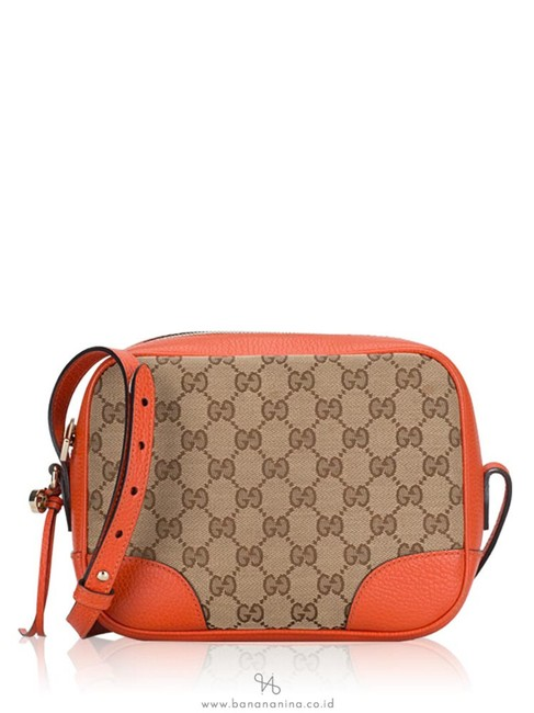 Item - Camera Bree Gg Leather with Leather Trim Beige/Orange Canvas Cross Body Bag