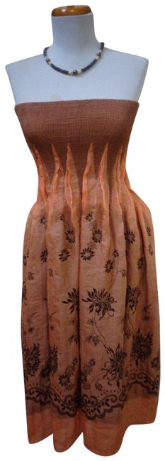 Item - Burnt Umber Polyester/Rayon/Nylon/Spandex Blend Strapless Mid-length Night Out Dress Size OS (one size)