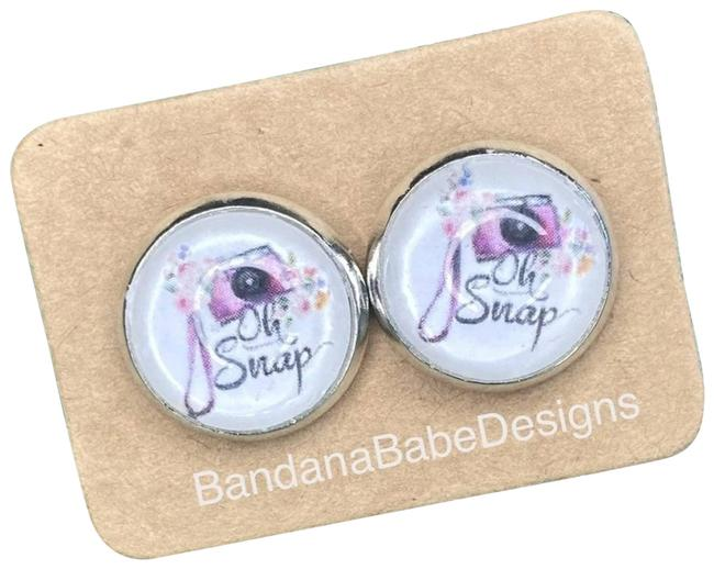 Item - Pink Oh Snap Photographer Cabochon Stud Earrings
