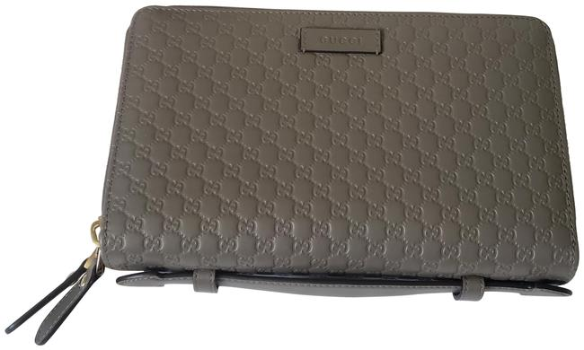 Item - Wallet Gray Leather and Gg Leather Clutch